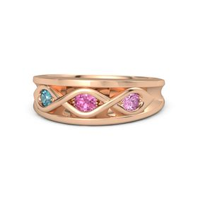 Round Pink Tourmaline 14K Rose Gold Ring with Pink Sapphire and London Blue Topaz