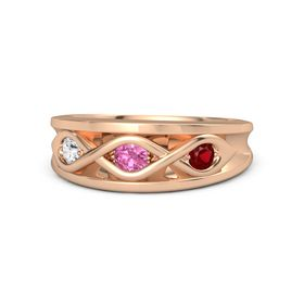 Round Pink Tourmaline 14K Rose Gold Ring with Ruby & White Sapphire