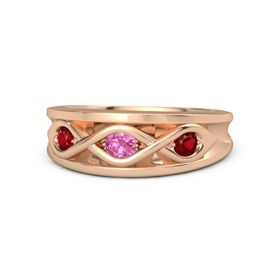Round Pink Tourmaline 14K Rose Gold Ring with Ruby