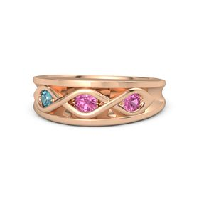 Round Pink Tourmaline 14K Rose Gold Ring with Pink Tourmaline and London Blue Topaz