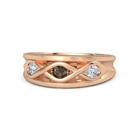 Round Smoky Quartz 14K Rose Gold Ring with Diamond