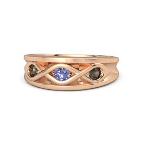Round Tanzanite 14K Rose Gold Ring with Smoky Quartz