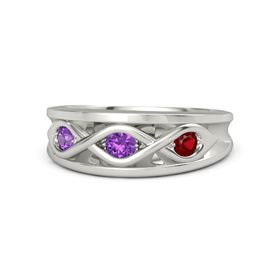 Round Amethyst 14K White Gold Ring with Ruby and Amethyst