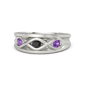 Round Black Diamond 14K White Gold Ring with Amethyst