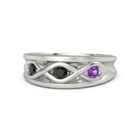 Round Black Diamond 14K White Gold Ring with Amethyst and Black Diamond