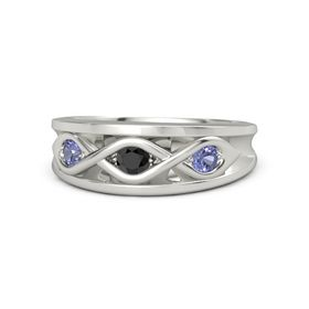 Round Black Diamond 14K White Gold Ring with Tanzanite
