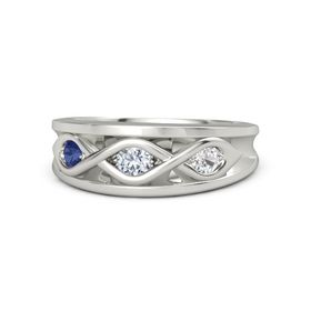 Round Diamond 14K White Gold Ring with White Sapphire and Blue Sapphire