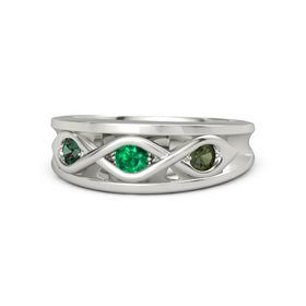 Round Emerald 14K White Gold Ring with Green Tourmaline and Alexandrite