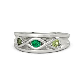 Round Emerald 14K White Gold Ring with Peridot and Green Tourmaline