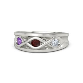 Round Red Garnet 14K White Gold Ring with Diamond and Amethyst