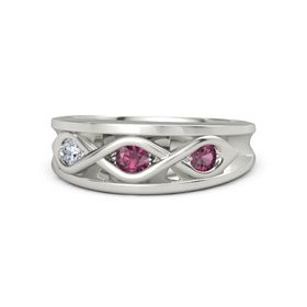 Round Rhodolite Garnet 14K White Gold Ring with Rhodolite Garnet and Diamond