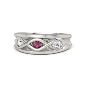 Round Rhodolite Garnet 14K White Gold Ring with White Sapphire