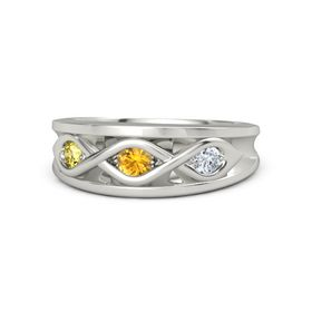 Round Citrine 14K White Gold Ring with Diamond and Yellow Sapphire