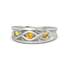 Round Citrine 14K White Gold Ring with Citrine