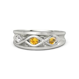 Round Citrine 14K White Gold Ring with Citrine and White Sapphire