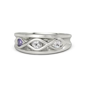 Round White Sapphire 14K White Gold Ring with White Sapphire and Iolite