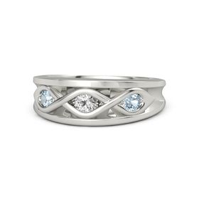 Round White Sapphire 14K White Gold Ring with Aquamarine