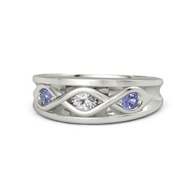 Round White Sapphire 14K White Gold Ring with Tanzanite