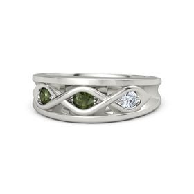 Round Green Tourmaline 14K White Gold Ring with Diamond and Green Tourmaline