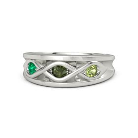 Round Green Tourmaline 14K White Gold Ring with Peridot and Emerald