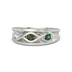 Round Green Tourmaline 14K White Gold Ring with Alexandrite and White Sapphire