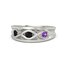 Round Black Onyx 14K White Gold Ring with Amethyst and Black Onyx