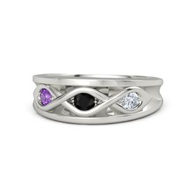 Round Black Onyx 14K White Gold Ring with Diamond and Amethyst