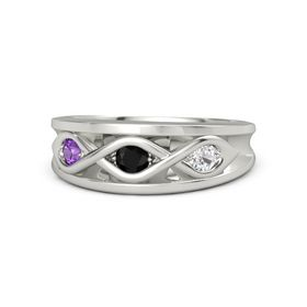 Round Black Onyx 14K White Gold Ring with White Sapphire & Amethyst