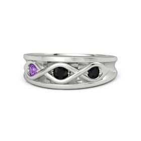 Round Black Onyx 14K White Gold Ring with Black Onyx and Amethyst