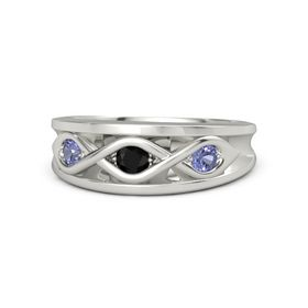 Round Black Onyx 14K White Gold Ring with Tanzanite