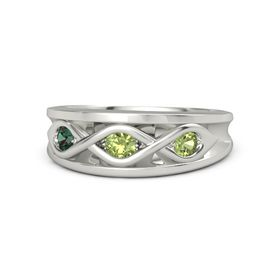 Round Peridot 14K White Gold Ring with Peridot and Alexandrite