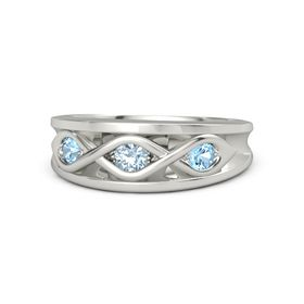 Round Aquamarine 14K White Gold Ring with Blue Topaz