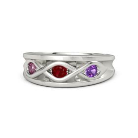 Round Ruby 14K White Gold Ring with Amethyst and Rhodolite Garnet