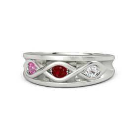 Round Ruby 14K White Gold Ring with White Sapphire and Pink Tourmaline
