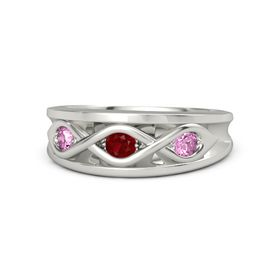 Round Ruby 14K White Gold Ring with Pink Sapphire