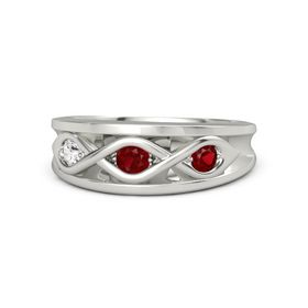 Round Ruby 14K White Gold Ring with Ruby & White Sapphire