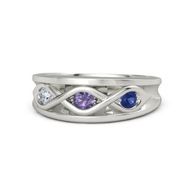Round Iolite 14K White Gold Ring with Blue Sapphire and Diamond