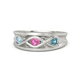 Round Pink Tourmaline 14K White Gold Ring with London Blue Topaz and Blue Topaz