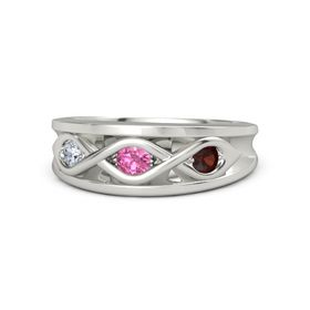 Round Pink Tourmaline 14K White Gold Ring with Red Garnet and Diamond