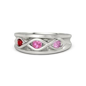Round Pink Tourmaline 14K White Gold Ring with Pink Sapphire and Ruby