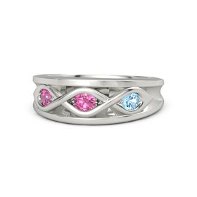 Round Pink Tourmaline 14K White Gold Ring with Blue Topaz and Pink Tourmaline