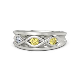 Round Yellow Sapphire 14K White Gold Ring with Yellow Sapphire and Diamond