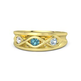 Round London Blue Topaz 14K Yellow Gold Ring with Aquamarine and White Sapphire