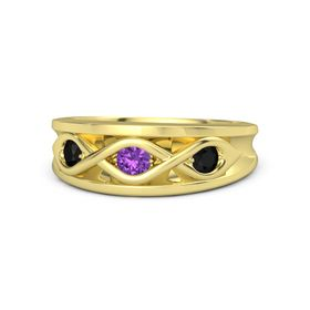Round Amethyst 14K Yellow Gold Ring with Black Onyx