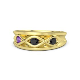 Round Black Diamond 14K Yellow Gold Ring with Black Diamond and Amethyst
