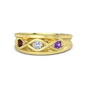 Round Diamond 14K Yellow Gold Ring with Amethyst and Red Garnet