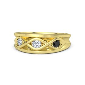 Round Diamond 14K Yellow Gold Ring with Black Diamond and Diamond