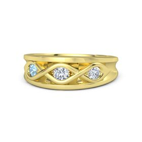 Round Diamond 14K Yellow Gold Ring with Diamond & Blue Topaz