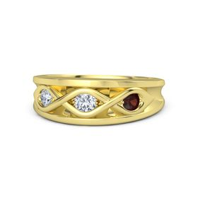 Round Diamond 14K Yellow Gold Ring with Red Garnet and Diamond