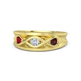 Round Diamond 14K Yellow Gold Ring with Red Garnet and Ruby